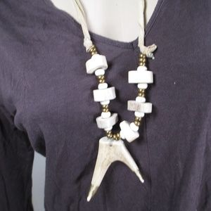 DEER ANTLER & BEAD NECKLACE TAN SUEDE HANDMADE